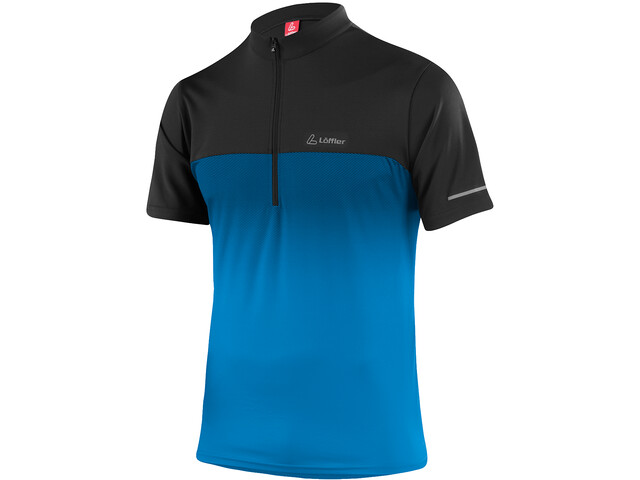Löffler Flow Fietsshirt Halve Rits Heren, brilliant blue/black